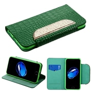 Insten Book-Style Leather Crocodile Skin Case w/stand/card holder/Diamond For Apple iPhone 7 - Green