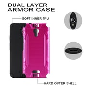 Insten Slim Armor Brushed Metal Design Hybrid Hard PC/Silicone Case For Alcatel Pixi Theatre - Hot Pink/Black