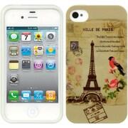 Insten TPU Imd Rubber Gel Back Case Paris Stamp For Apple iPhone 4 / 4S