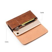 Insten Horizontal Leather Wallet Pouch Belt Clip Case Cover For HTC One M7, Samsung Galaxy S6 / S7 - Brown