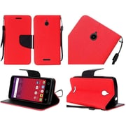 Insten Folio Leather Fabric Case Lanyard w/stand For Alcatel Acquire / Dawn / Streek - Red/Black