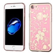 Insten Phoenix-tail Flowers Rubber Cover Case For Apple iPhone 7 - Pink/White