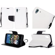 Insten Book-Style Leather Fabric Case Lanyard w/stand For HTC Desire 626/626s - White/Black