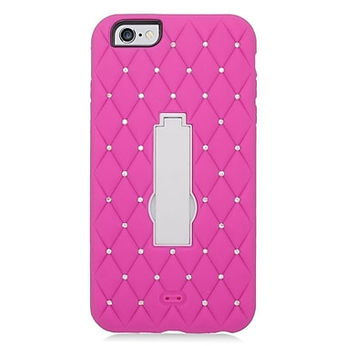 Insten Symbiosis Soft Dual Layer Rubber Hard Case with Diamond for iPhone 6s Plus / 6 Plus - Hot Pink/White