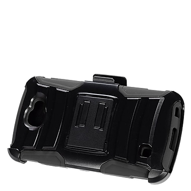 Insten Hard Hybrid Plastic Silicone Stand Case with Holster For LG Optimus Zone 3 / Spree - Black