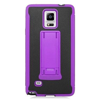 Insten Hard Dual Layer Plastic Silicone Cover Case For Samsung Galaxy Note 4 - Black/Purple