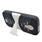 Insten Wave Symbiosis Gel Dual Layer Rubber Hard Case w/stand For BLU Studio 5 - Black/White