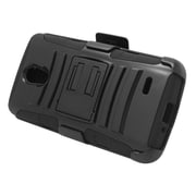 Insten Hard Dual Layer Plastic Silicone Stand Case with Holster For LG Lucid 3 - Black