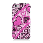 Insten Hearts Hard Diamante Cover Case For Apple iPhone 5C - Hot Pink