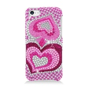 Insten Hearts Hard Rhinestone Cover Case For Apple iPhone 5C - Hot Pink