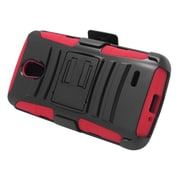 Insten Hard Dual Layer Plastic Silicone Stand Case with Holster For LG Lucid 3 - Black/Red