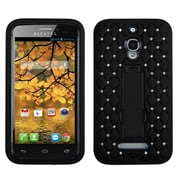 Insten Symbiosis Gel Hybrid Rubber Hard Cover Case with Stand/Diamond For Alcatel One Touch Fierce 7024W - Black