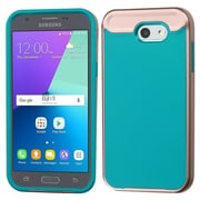 Insten Astronoot Hybrid Frame Case For Samsung Galaxy Express Prime 2/J3 (2017) - Rose Gold Frame/Tropical Teal