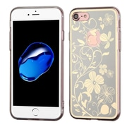 Insten Phoenix-tail Flowers Rubber Case For Apple iPhone 7 - Silver/White
