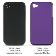 Insten Hard Hybrid Rubber Silicone Cover Case For Apple iPhone 4 - Purple/Black