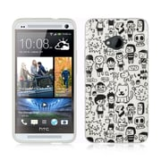 Insten Rubber Cover Case For HTC One M7 - White/Black