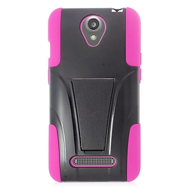 Insten Hard Hybrid Plastic Silicone Case w/stand For ZTE Obsidian - Black/Hot Pink