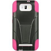 Insten Hard Dual Layer Plastic Silicone Case w/stand For BLU Studio 5.5 - Black/Hot Pink