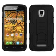 Insten Car Armor Hard Dual Layer Plastic Silicone Case w/stand For Alcatel One Touch Fierce 7024W - Black