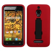Insten Symbiosis Rubber Dual Layer Hard Case w/stand For Alcatel One Touch Fierce 7024W - Red/Black