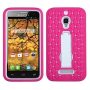 Insten Symbiosis Skin Hybrid Rubber Hard Cover Case with Stand/Diamond For Alcatel One Touch Fierce 7024W - Pink/White