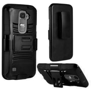 Insten Hard Dual Layer Plastic Silicone Case w/Holster For LG K7 Tribute 5 - Black