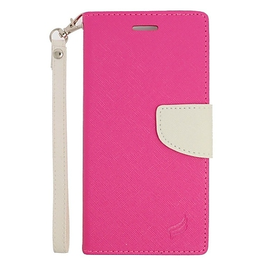 Insten Leather Wallet Case with Lanyard & Card Slot For Samsung Galaxy S6 Edge Plus - Pink/White