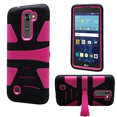 Insten Hard Dual Layer Silicone Cover Case w/stand For LG K7 Tribute 5 - Black/Hot Pink