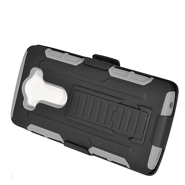 Insten Car Armor Hard Hybrid Plastic Silicone Stand Case with Holster For LG V10 - Black/Gray