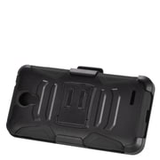 Insten Hard Dual Layer Plastic Silicone Stand Case with Holster For ZTE Prestige - Black