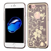Insten Phoenix-tail Flowers TPU Case For Apple iPhone 7 - Brown/White