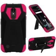 Insten Hard Hybrid Plastic Silicone Cover Case w/stand For LG Aristo / LV3 - Black/Hot Pink