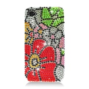 Insten Flowers Hard Bling Case For Apple iPhone 4/4S - Red/Green
