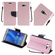 Insten Book-Style Leather Fabric Case Lanyard w/stand For Samsung Galaxy On5 - Rose Gold/Black