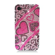 Insten Hearts Hard Diamond Cover Case For Apple iPhone 4/4S - Hot Pink