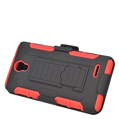 Insten Car Armor Hard Hybrid Plastic Silicone Stand Case with Holster For ZTE Prestige - Black/Red