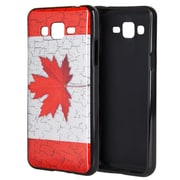 Insten Canada TPU IMD Rubber Skin Gel Back Shell Case For Samsung Galaxy Grand Prime - Red/White