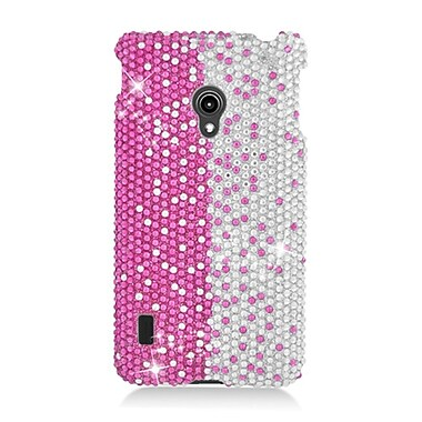 Insten Hard Diamante Cover Case For LG Lucid 2 VS870 - Hot Pink/Silver