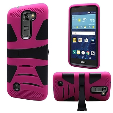 Insten Hard Hybrid Rubber Coated Silicone Cover Case w/stand For LG K7 Tribute 5 - Hot Pink/Black