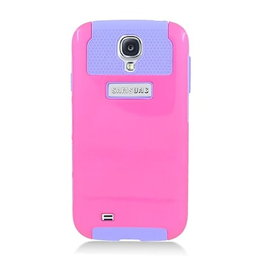 Insten Dual Layer Nest Hybrid Rubberized Hard PC/Silicone Case Cover for Samsung Galaxy S4 i9500 - Hot Pink/Purple