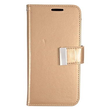 Insten Book-Style Leather Fabric Stand Credit Card Case w/ Photo Display for Samsung Galaxy S7 - Gold