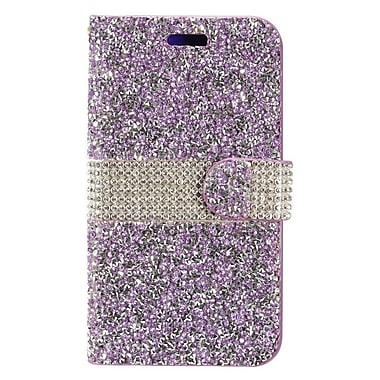 Insten Book-Style Leather Rhinestone Case w/card slot For Coolpad Catalyst - Purple/Silver