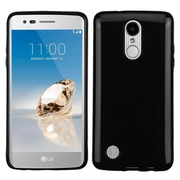 Insten Glossy TPU Candy Skin Gel Rubber Back Case For LG Aristo / Fortune / K8 (2017) / LV3 / Phoenix 3 - Jet Black