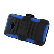 Insten Advanced Armor Dual Layer Hybrid Stand PC/Silicone Holster Case Cover for HTC One M7 - Black/Blue