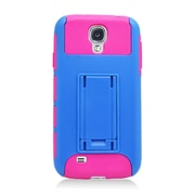 Insten Dual Layer Nest Hybrid Rubberized Hard PC/Silicone Stand Case Cover for Samsung Galaxy S4 i9500 - Blue/Hot Pink