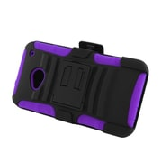 Insten Advanced Armor Dual Layer Hybrid Stand PC/Silicone Holster Case Cover for HTC One M7 - Black/Purple