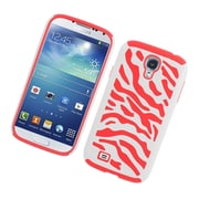 Insten Zebra Dual Layer Hybrid Rubberized Hard PC/Silicone Case Cover for Samsung Galaxy S4 i9500 - White/Red