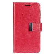 Insten Book-Style Leather Fabric Credit Card Case w/ Photo Display for LG K7 - Hot Pink