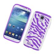 Insten Zebra Dual Layer Hybrid Rubberized Hard PC/Silicone Case Cover for Samsung Galaxy S4 i9500 - White/Purple