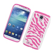 Insten Zebra Dual Layer Hybrid Rubberized Hard PC/Silicone Case Cover for Samsung Galaxy S4 i9500 - White/Pink